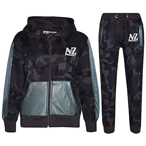 A2Z 4 Kids Kids Tracksuit Boys Girls Designer's A2Z Project Camouflage - Green - 13 Years