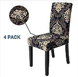 Veakii R Fundas para sillas Pack de 4 Fundas sillas Comedor, Lavable Comedor Asiento Cubre para el Comedor casero Modern Bouquet de la Boda, Hotel, Decor Restaurante(Flor B)