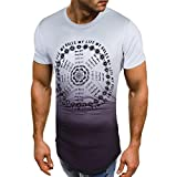 VEMOW Sommer Cool Männer Slim Fit O-Ausschnitt Kurzarm Muscle T-Shirts Casual Täglichen Business Workout Lose T-Shirt Tops Bluse Pulli(Grau, EU-48/CN-M)