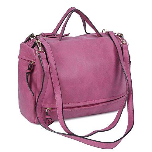 Mufly Borsa da Donna in PU Bucciato Moda Elegante, Bag a Mano o a Spalla Grande Capacità per Viaggio con Accessori Chic Rosso