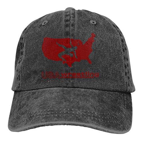 j65rwjtrhtr Men's Or Women's Adjustable Denim Fabric Baseball Cap USA Wrestling Hiphop Cap