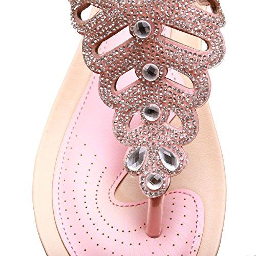 La Modeuse - Sandales compensées type nu-pieds aspect cuir Rose