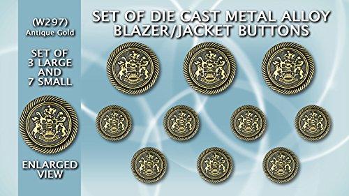 Set von Die Cast Metall Blazer Tasten w297ag–Medium Gewicht–(Antik Gold) (Antique Blazer)