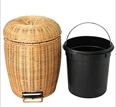 LINDA®Poubelle Poubelle Tricoter Bambou Et Le Rotin Ménage L Petit
