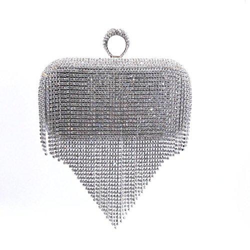 GSHGA Mode Frauen Handtaschen Quasten Clutch Taschen Schimmer Für Party Hochzeit Clubs,Silver (Braut-abschlussball-abend-handtaschen)