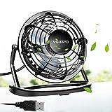 VGUARD Mini Ventilateur USB Fan, 360 Degrés Rotation, Portable de 4 Pouces, Silencieux Ventilateur de Bureau/Table pour Table PC, Bébé Poussette, Maison, Bureau, Camping, Voyage - Noir
