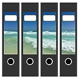 4 x Akten-Ordner Etiketten/Aufkleber/Rücken Sticker/mit Design Motiv Atlantik Fuerteventura/für breite Ordner/selbstklebend / 6cm breit