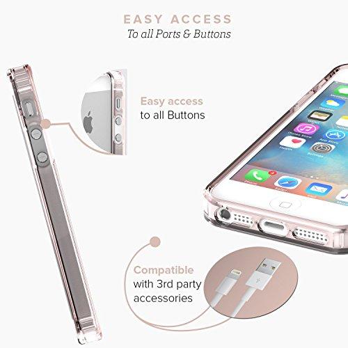 iPhone 5 5s SE Hülle, (Schwarz, Grau) SaharaCase Schutz Kit Paket mit Null Schaden [ZeroDamage gehärtetes Glas Bildschirmschutz] Robuster Schutz Anti-Rutsch-Griffigkeit [Stoß sicherer Puffer] Schlanke Rosengoldklar