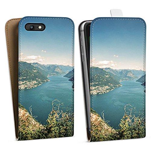 Apple iPhone 8 Plus Silikon Hülle Case Schutzhülle Landschaft Fluss Berge Downflip Tasche weiß