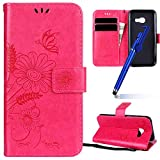 MoreChioce Galaxy A3 2017 Hülle,Galaxy A3 2017 Stand Hülle, Retro Rosa Rot Relief Schutzhülle Klapphülle Flip Wallet Case Magnetische mit Standfunktion für Samsung Galaxy A3 2017 im Bookstyle
