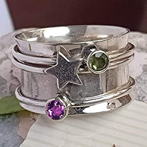 Peridot, Amethyst Spinner Band Rings, 925 Sterling Silver Spinner Band Rings for Women, Gift Ring for Mother's Day