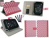 emartbuy Packung mit 5 Eingabestift +Universalbereich Polka Dots Hot Rosa/Weiß Folio Wallet Tasche Etui Hülle Cover mit Kartensteckplätze Geeignet für I.onik TP - 1200QC 7.85 Inch Tablet