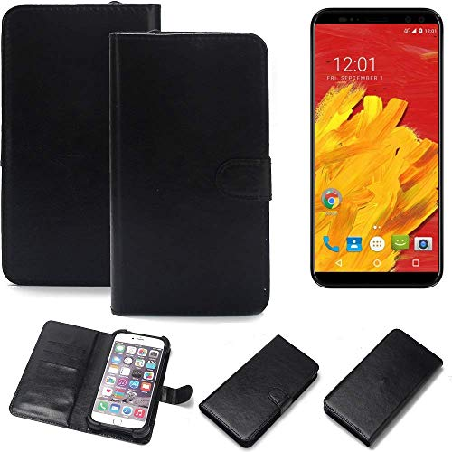 K-S-Trade Wallet Case Handyhülle für M-Horse Pure 3 Schutz Hülle Smartphone Flip Cover Flipstyle Tasche Schutzhülle Flipcover Slim Bumper schwarz, 1x