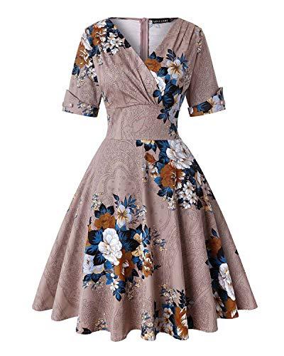 Fuchsia Brautjungfer Kleider (MINTLIMIT Damen V-Ausschnitt Floral Halbe Ärmel Midi Flare Retro Kleider Cocktailkleider (Floral Khaki,Größe XL))