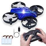 ONIPU Mini Drohne, Drohne Kinder Spielzeug RC Quadcopter 2.4GHZ 4CH 6 Achsen 3D Flips Headless Modus mit LED-Leuchten Gadgets Geschenke Indoor Outdoor Spielzeug für Kinder Jungen Mädchen (Blau)