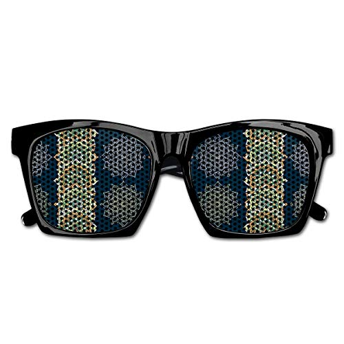 Mesh Sunglasses Sports Polarized, Bohemian Ethnic Henna Motifs Vertical Borders Moroccan Ottoman Cultures Inspired,Fun Props Party Favors Gift Unisex