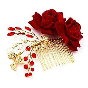 Yazilind Mode Tuch Rosen Haar Kamm Braut Haar Zubehör Western Stil glänzend roten Kristall Hochzeit Kopfschmuck