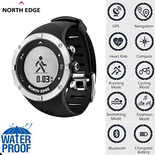 Fcostume North Edge Smart Sportuhr GPS Time Multifunktion Wasserdichte Laufen im Freien Joggen Wandern (As Shown) (Garmin-edge-bands)