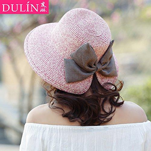 FQG*La fille d' chapeau de paille plage de sable le long de la pac voyage télévision auvents chapeaux de paille chapeaux à larges bords , sable loisirs femme noir et blanc Pink