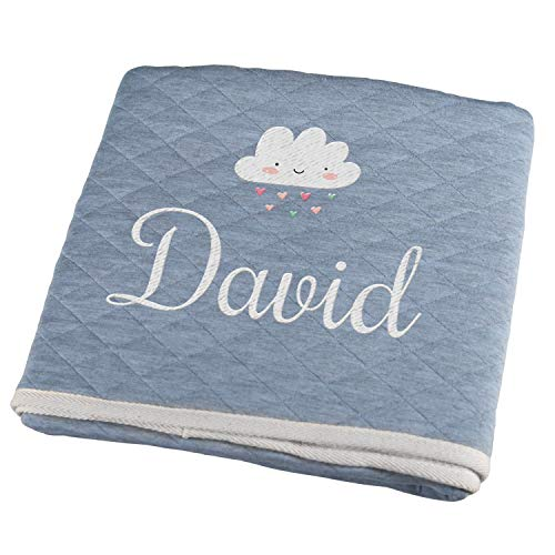 Personello® Baby Krabbeldecke mit Name bestickt (Wolke), blau, Premium, Bio Baumwolle, Babygeschenke zur Geburt Junge