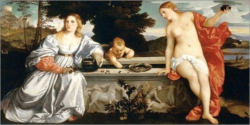 Poster 80 x 40 cm: Amor Sacro e Amor profano von Tiziano Vecellio - hochwertiger Kunstdruck, neues Kunstposter