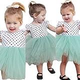AMA(TM) AMA(TM) Toddler Kids Baby Girls Lace Dot Tulle Tutu Skirt Summer Party Dress (2T White)