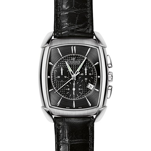 charmex-evian-mens-chronograph-black-calfskin-stainless-steel-case-watch-2386