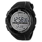 Tirador de hombre reloj deportivo casual business muñeca relojes 50m resistente al agua Big números Digital pantalla LCD reloj negro banda de goma simple fashion