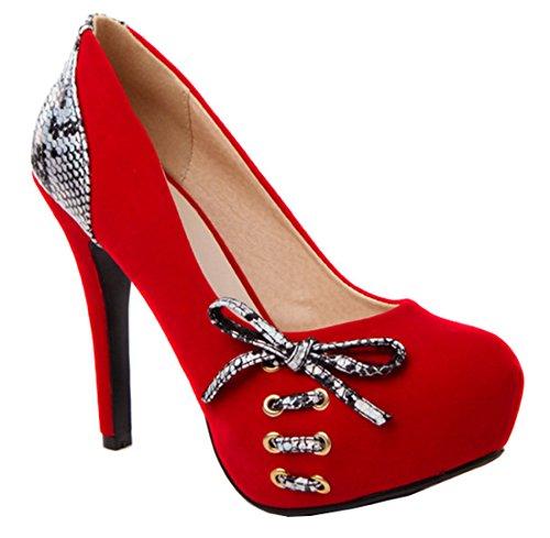 YE Damen High Heels Stiletto Wildleder Pumps mit Plateau und Schleife 12 Absatz Elegant Party Schlangenmuster Schuhe Rote