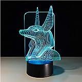 Egypte 3D 7 Couleurs Changer Illusion Couleurs Changer Bureau Lumière Avec Black Touch Base Décor Nuit Lumière