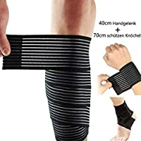 Lezed (2 pcs) Bandage | Bandage de coude | Bandage élastique ajustable pour poignet et genou | Bandage de maintien de la…