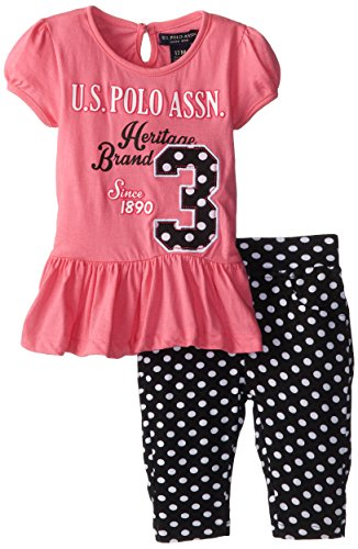 U.S. Polo Assn. Baby Girls' Bubble Sleeve Peplum Top and Print Capri Leggings, Bubble Gum, 12 Months (Top Sleeve Bubble Print)