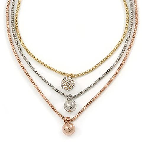 3 Strand Layered Gold/ Silver/ Rose Gold Mesh Chain With