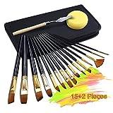 H&B® 15+2 Stück Künstlerpinsel Acrylpinsel für Acrylmalerei Aquarellmalerei Ölmalerei Flachpinsel Bürste mit Spachtel und Nylon Tasche