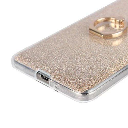 Luxus Bling Sparkle Style Case, Soft TPU [Silikon] Flexible Glitter Back Cover mit Fingerring Stand [Anti Scratch] [Shockproof] für Samsung Galaxy G530 ( Color : Gold ) White