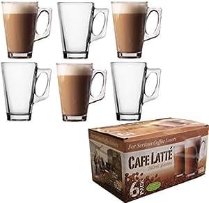 Lot de 6grands mugs en verre transparent pour café ou thé 240ml