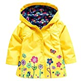 Girls Winddichte & wasserdichte Blumen Regenmantel Outwear Jacket Blue / 90cm