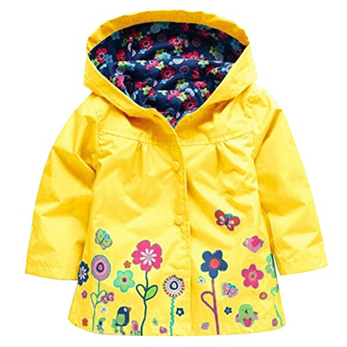 hibote Network technology Ltd Girls Winddichte & wasserdichte Blumen Regenmantel Outwear Jacket Blue / 90cm