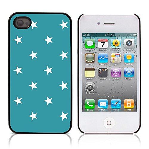 Graphic4You Sterne Muster Design Harte Hülle Case Tasche Schutzhülle für Apple iPhone 4 und 4S (Schwarz) Türkis