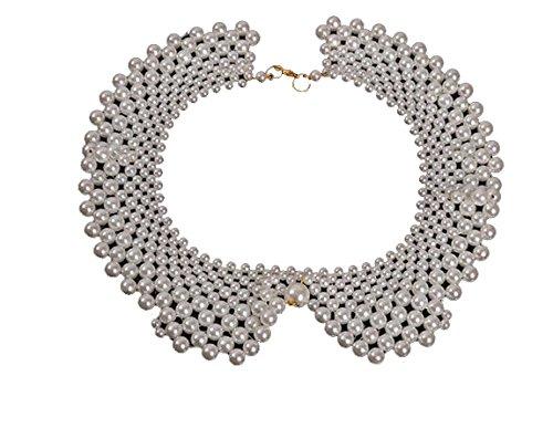 Lily Jewellery - Collana a colletto, da donna, lunghezza regolabile, con perline bianche
