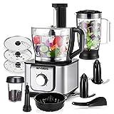 AEVOBAS Küchenmaschine multifunktional, 1100W, 3 Geschwindigkeiten, 11 in 1, Elektrischer Zerkleinerer, Standmixer, Zitrusspresse, Entsafter, Kaffeemühle, 3.2L Rührschüssel, 1.5L Mixbecher