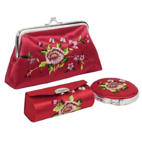 Sourcingmap Portefeuille et étui à rouge à lèvres brodés Fleurs Rouges