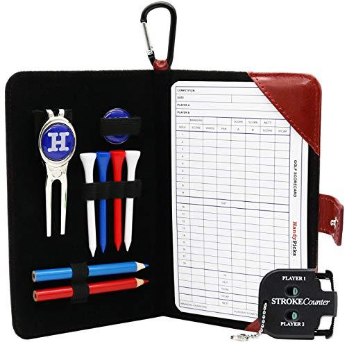 Score Karte und Zubehörtasche aus echtem Leder - Divot Reparaturwerkzeug, Ballmarker, Golf Tees, Bleistifte n Scorecards, Scorzähler inklusive - Geschenk für Golfer Handy Picks (Dunkelrot, 1 Pack)
