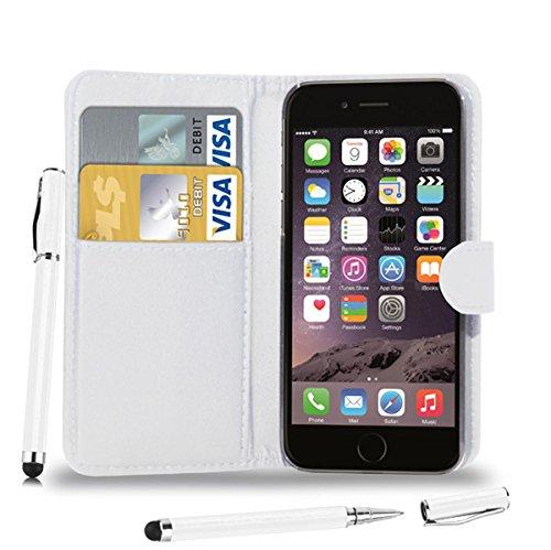 Apple iPhone 6 - Leder Brieftasche Tasche Buch + 2 in 1 Stylus Pen + Screen Protector & Poliertuch ( Black ) White