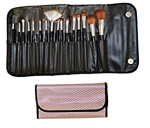 BABY PINK - 16pc BEAUTY MAKE UP BRUSH SET & BAG - FREE DELIVERY