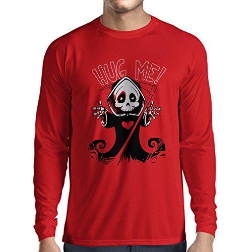 Langarm Herren t shirts Der Tod kommt! Halloween Skelett Kleidung, böse Schädel Sichel (Medium Rot (Marke Maskottchen Kostüme)