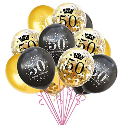 fetti Luftballon Set für 50. Geburtstag Jubiläum Feier Party Ballons 15 Stück Schwarz Gold Transparent ()