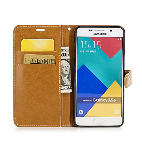 Custodia Galaxy A5 2016, ISAKEN Flip Cover per Samsung Galaxy A5 2016 con Strap, Elegante Bookstyle PU Pelle Case Cover Protettiva Flip Portafoglio Custodia Protezione Caso con Supporto di Stand / Car Plain marrone