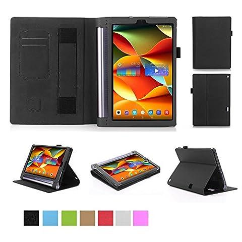 ISIN Housse pour Tablette Série Étui Premium PU avec Support pour Lenovo Yoga Tab 3 Plus et Tab 3 Pro de 10.1 pouces Tablette Projecteur Avec Sangle Velcro et Slot Cartes