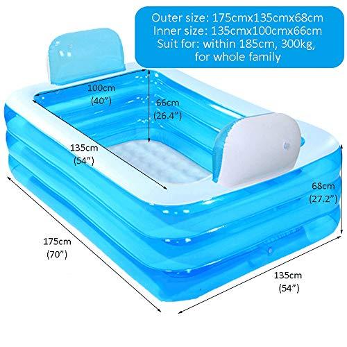 Baignoire Gonflable Multi Personne Pliable Bleue De Grande Famille Zzw Piscine Gonflable Portative Baignoire Deau De